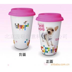 大头狗双层杯(硅胶盖)双层杯马克杯 隔热杯 陶瓷杯 骨瓷双层杯
