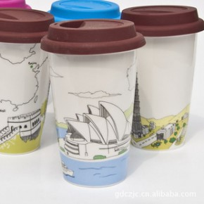 创意杯子 星巴克双层陶瓷杯 国家风景系列14款 印制LOGO
