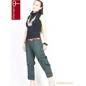 2011新夏 高端原单 修身显瘦 原创亚麻 刺绣铅笔裤七分裤子 特价