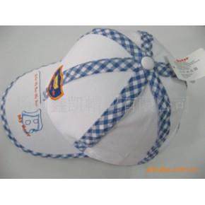 棒球帽,童帽,运动帽,全棉进口机绣花、镶装饰条条儿童运动帽