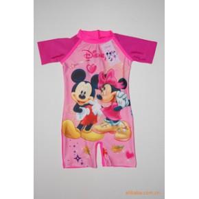 东莞蓝可迪士尼米妮米奇米老鼠女童连体泳衣冲浪服8607新款