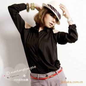 Y2653时尚女装上衣批发 肩搂空长版宽松衬衫 淘宝代理