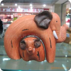 陶土母子象 田园趣味陶瓷家居摆件 T10506