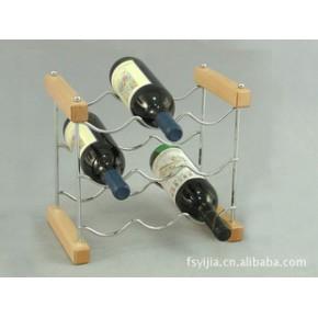 毅佳可折叠式叠装九瓶橡胶木铁线酒架