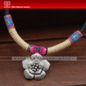 西北民族饰品 原创手工 民族项圈 古银蜡线项圈 XQ-B007