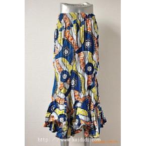 斜拼鱼尾摆印尼花布长裙 东南亚风格长裙 碎花布裙