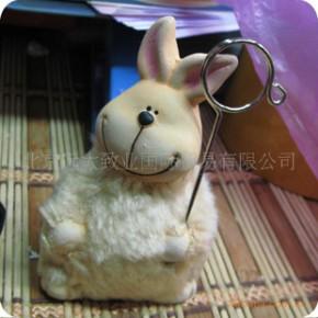 超值外贸 田园家居小摆件 陶土贴绒小兔便签夹