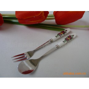 陶瓷咖啡勺,陶瓷水果叉,不锈钢餐具,餐具礼品