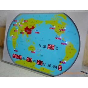 世界钟、大堂装饰用品、办公摆设、世界地图屏0.56X0.34M