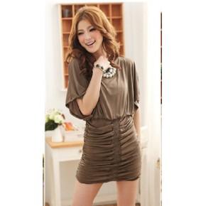 2011新款夏装韩版女装蝙蝠袖收腰包臀连衣裙子