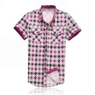 魔斗士专柜夏季新款男士短袖衬衫红色花纹潮流修身格子衬衣