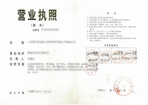 山东舜天信诚会计师事务所有限公司聊城分所